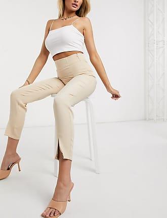 In The Style x Stephsa split detail corset trouser in camel-Beige
