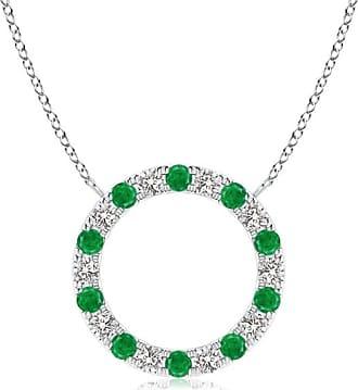 Angara Valentine Day Sale - Emerald and Diamond Open Circle Eternity Pendant