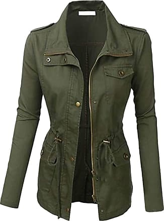 H&E Womens Casual Safari Military Anorak Utility Jacket Trench Coat Army Green L