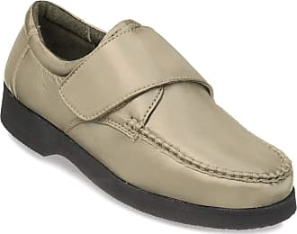 Chums Mens Wide Fit Touch Fasten Leather Shoe Taupe 13 UK