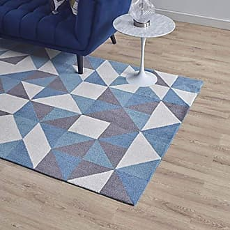 ModWay Modway Kahula Geometric Triangle Mosaic 5x8 Area Rug In Blue, White and Gray