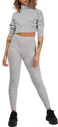 Crazy Girls Womens Loungewear Ladies Rib High Neck Knitted Crop Top Bottom Two Piece Co-Ords Set Tracksuit UK 8-14 (12-14, Grey)