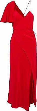 Michelle Mason Michelle Mason Woman Cape-effect Silk Crepe De Chine Midi Wrap Dress Crimson Size 10