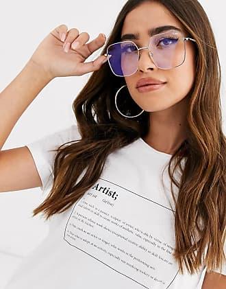 Quay Cheat Sheet - Eckige Brille mit Blaulicht-Gläsern in Silber-Gold