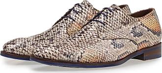 Floris Van Bommel Premium Schnürschuh mit orangefarbenem Schlangenprint, Business Schuhe, Designer Schuh, Handgefertigt