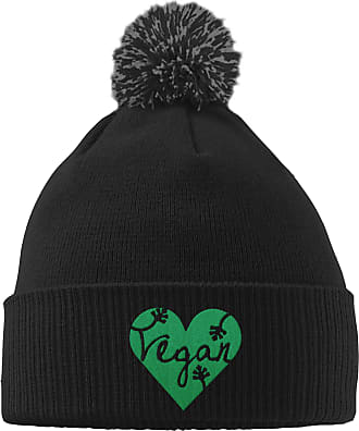 HippoWarehouse Vegan Design Embroidered Beanie Hat with Bobble Black