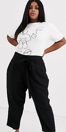 Asos Curve ASOS DESIGN Curve - Knöchellange, schmal zulaufende Hose mit Taillenschnürung-Schwarz
