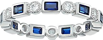 Amazon Collection Platinum-Plated Sterling Silver Created Sapphire All-Around Band Ring set with Swarovski Zirconia Accents, Size 8
