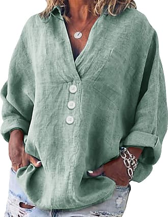 Yidarton Womens Long Sleeve Linen Tops Casual V-Neck Cotton Blouse Loose Plus Size Tunic Shirts (Green, 2XL=(UK 14-18))
