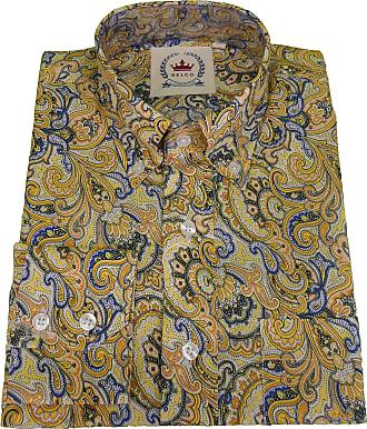 Relco Mens Burgundy Paisley Shirt (Large, Mustard)