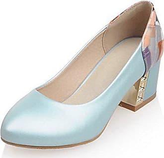 94f87dcc772f76 VogueZone009 Damen Gemischte Farbe Ziehen auf Rund Zehe Mittler Absatz  Pumps Schuhe