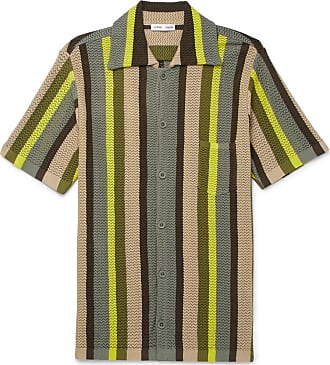 CMMN SWDN Wes Striped Knitted Cotton Shirt - Green
