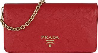 26010b231376a Prada Logo Wallet On Chain Saffiano Leather Fuoco Umhängetasche rot