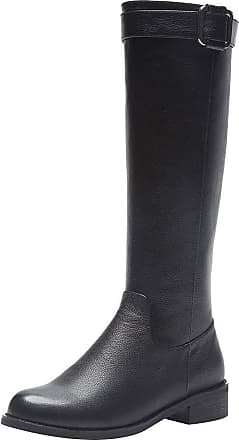 Jamron Womens Upscale Genuine Leather Knee High Back Zip Warm Lining Winter Riding Boots Black SN02916 UK5.5