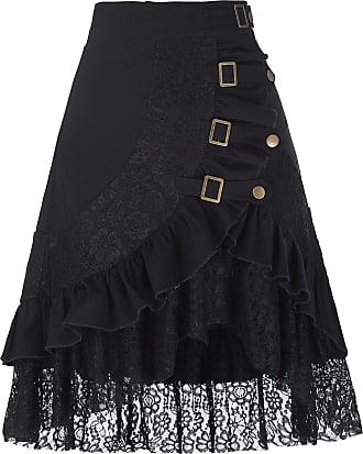 Belle Poque Women Gothic Steampunk Skirt Hippie Gypsy Lace Hem Party Skirt Black L