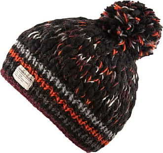 KuSan 100% Wool Moss Yarn Bobble Hat PK1932 (Orange/Black)