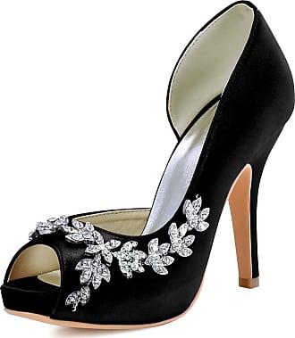Elegantpark HP1560IAC Platform Wedding Shoes for Bride High Heels Women Bridal Shoes Peep Toe Rhinestones Satin Wedding Party Dress Court Shoes Black UK 5(EU 38)