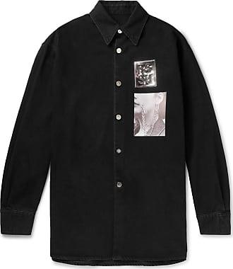 Raf Simons Oversized Appliquéd Denim Shirt Jacket - Black