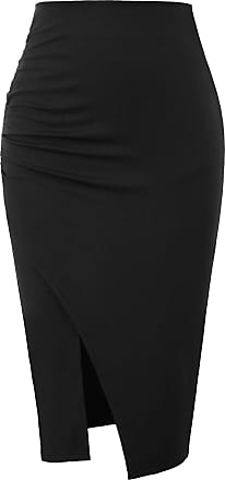 Grace Karin Ladies Fashion Split Side Strechy Skirt Slim Fit Knee Length Ruched Casual Work Office Bodycon Skirt Black M