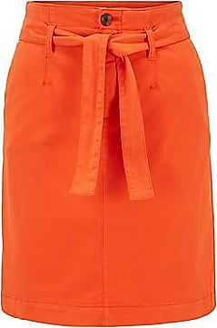 BOSS Chino skirt in stretch-cotton satin with tie belt
