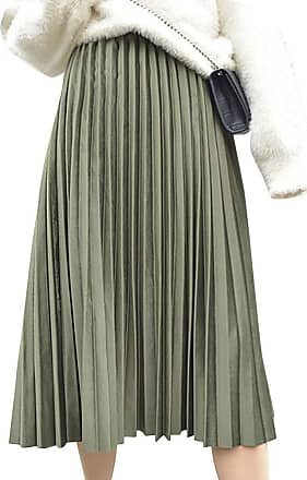 Yonglan Womens Long Skirt High Waist was Thin Comfortable and Elegant Velvet Pleated Skirt Army Green
