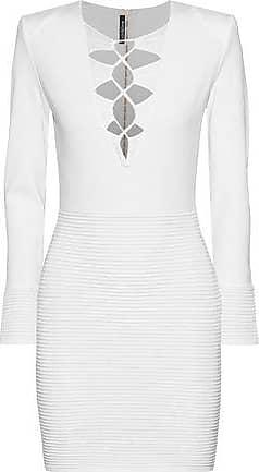 a2ce208b89 Balmain Balmain Woman Lace-up Stretch-knit Mini Dress Off-white Size 36