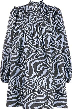 Ganni Kleid mit Tiger-Print - Blau