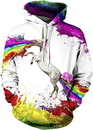 EUDOLAH Mens Long Sleeve Tops Graphic 3D Prints Hoodies Novelty Sweatshirts Colourful Pullover Jumpers (L/XL, 12 Unicorn)