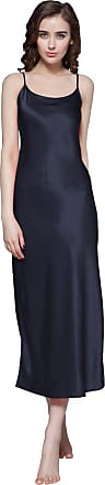 LilySilk Womens 100% Pure Silk Nightgown Long with Side Slit Ladies Nightdress 22 Momme Mulberry Silk Navy Blue Size 14/Extra M