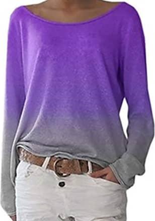Women Tie-dye Long Sleeve Autumn Ladies Casual Loose Pullover Jumper Blouse Tops