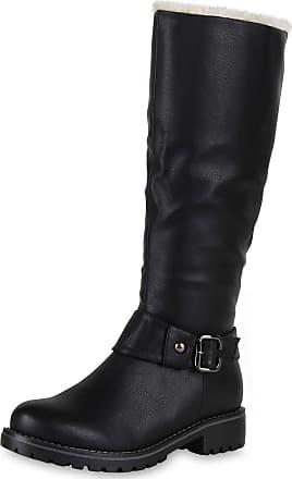Scarpe Vita Women Biker Boots Warm Lined Synthetic Fur Buckle 127167 Black UK 5.5 EU 39