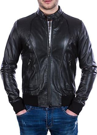 Leather Trend Italy Bomber Maverick - Giacca Uomo in Vera Pelle colore Nero Morbida