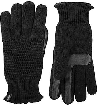 Isotoner Womens Knit Touchscreen Gloves with Water Repellent Technology, black X-Large