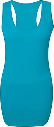 21Fashion Ladies Race Back Vest Bodycon Muscle Top Gym Yoga Stretchy Shirt Womens Casual Sportswear Tank Top Turquoise 2X Large UK 20-22