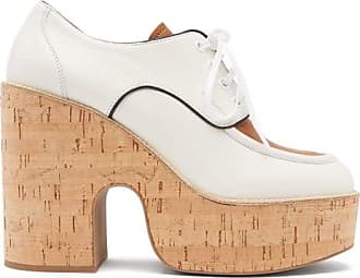 Miu Miu Grained-leather Wedge-platform Shoes - Womens - White