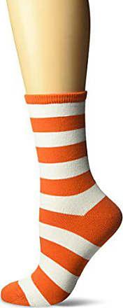 Hot Sox Womens Originals Fashion Crew Novelty Socks, College Rugby Stripe (Orange/White), Shoe Size: 4-10