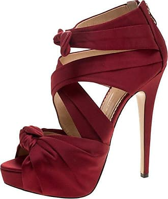 635a60b1103 Charlotte Olympia Red Satin Andrea Cross Strap Knotted Platform Sandals Size  41