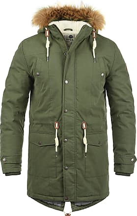 Solid Dry Mens Long Winter Parka Jacket With high closing Collar and Hood with Fur Collar Made of High Quality Material - Green - 0-3 Months