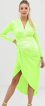 Queen Bee Maternity wrap front maxi dress in green snake print