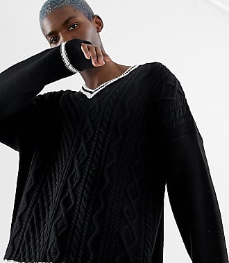 Collusion v-neck cable knit sweater with contrast tipping - Black