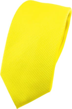 TigerTie narrow TigerTie Designer tie necktie in yellow bright-yellow neon-yellow all-one-color Rips - necktie