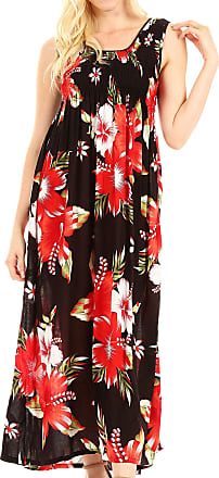 Sakkas TH2095 - Iyabo Womens Sleeveless Casual Summer Floral Print Dress Maxi Long Stretch - B-Red - OS
