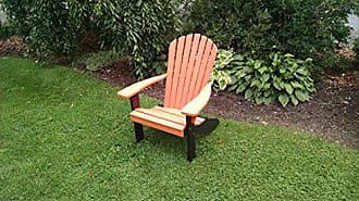 A & L Furniture A & L Furniture Poly Fanback Adirondack Chair with Black Frame, Orange