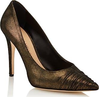 Tamara Mellon Furrow Bronze Metallic Suede Pumps, Size - 36.5