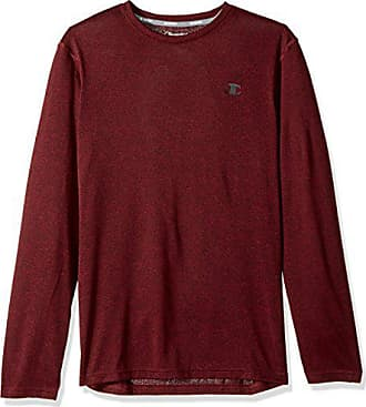 9db6ad7f Champion Mens Double Dry Heather Long Sleeve T-Shirt, Carmine Red Heather,  Small