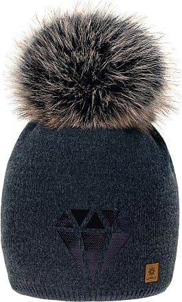 morefaz Women Winter Beanie Hat Diamond Style Knitted Fleece Lining Pom Pom Ski Hats (Dark Grey)