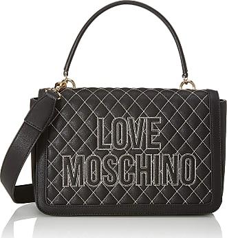 W x H L Black Nero Women/'s Top-Handle Bag 12x29x41 cm Love Moschino Borsa Canvas E Pebble Pu