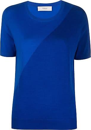 Pringle Of Scotland Camiseta assimétrica de lã e seda - Azul