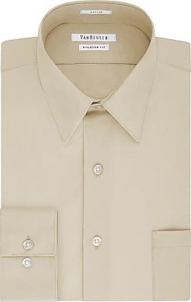 Van Heusen Mens Poplin Regular Fit Solid Point Collar Dress Shirt, Stone, 16.5 Neck 34-35 Sleeve