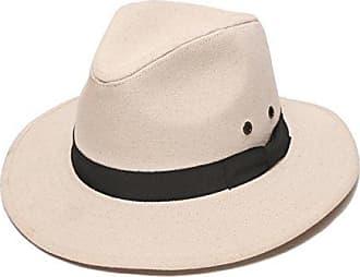 ále by Alessandra Womens Skyler Adjustable Canvas Fedora Hat with UPF 50+, Natural/Black, Adjustable Head Size